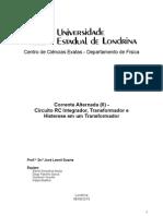 RelLabFisII - Corrente Alternada (II) Circuito RC Integrador, Transformador e Histerese em um Transformador