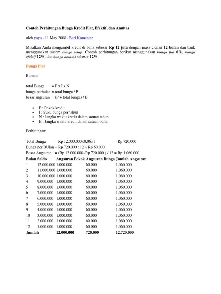 Contoh Perhitungan Bunga Kredit Di Bank