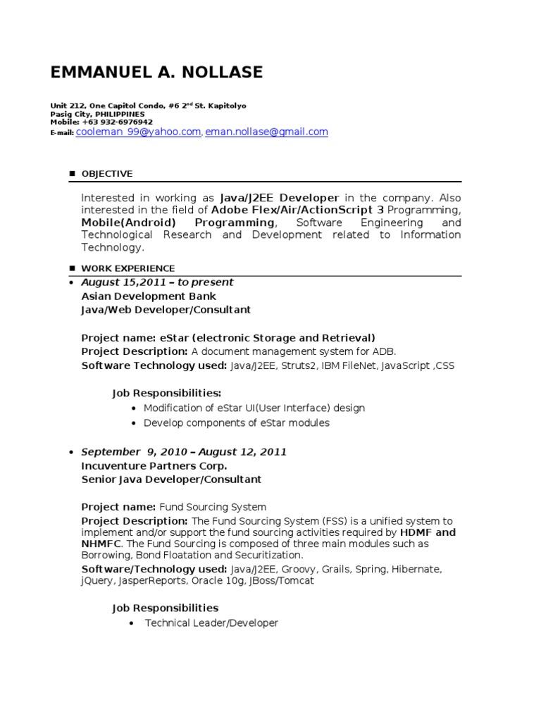 Emmanuel a  Nollase - Resume | Application Programming