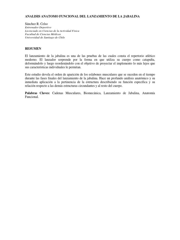Analisis Anatomofuncional Del Lanzamiento de La Jabalina