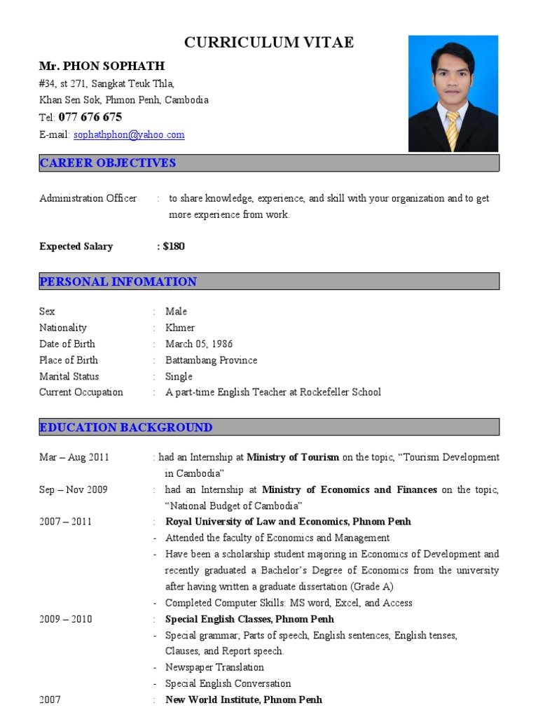 cv for administration officer city cambodia phnom penh