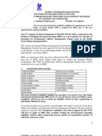 IBPS Notification For 2nd Common Probationary Officers (PO) Exam 2012
