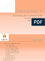 Procurement Oracle R12 Invoice AP Adjustment