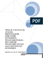 Calculul Si Analiza Principalilor Indicatori Economico-Financiari Pe Baza Situatiilor re Anuale Ale Unei Entitati Economice