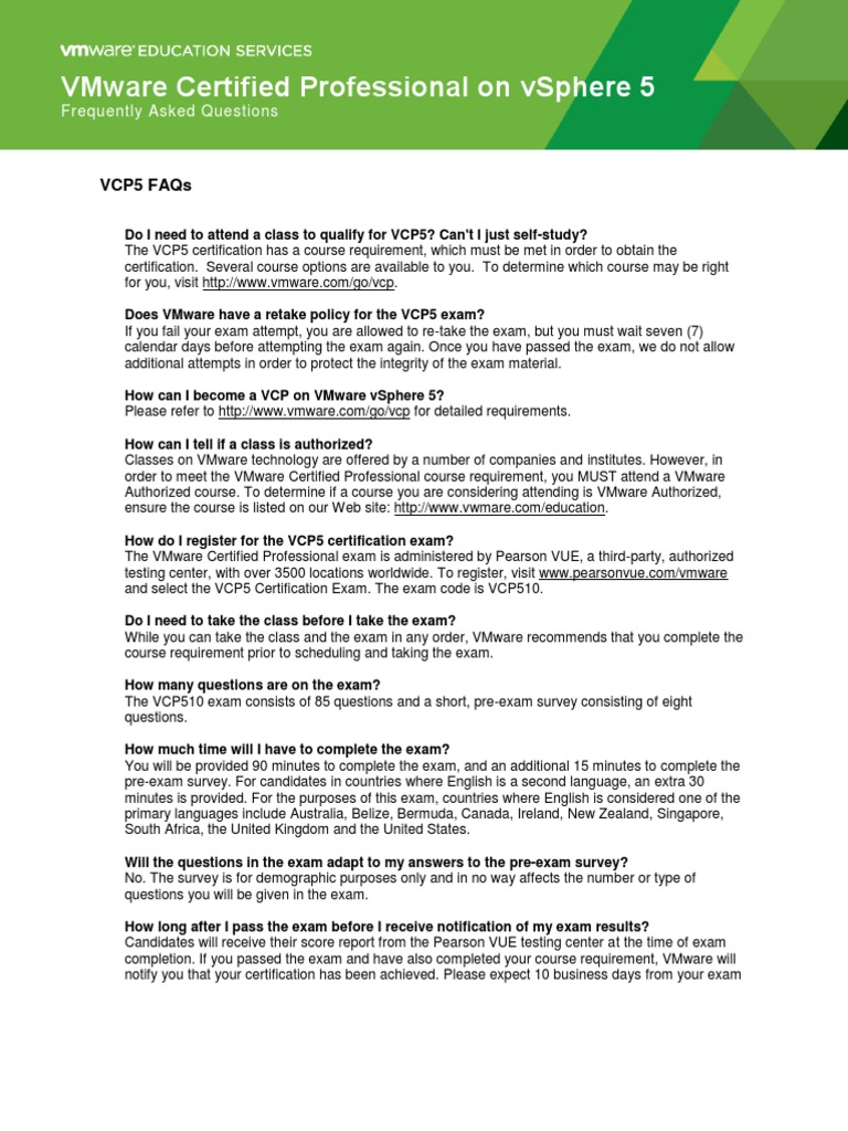 Vcp5faqs20110707final Certification Test Assessment
