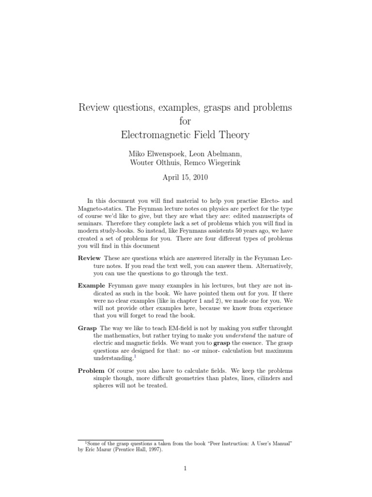 Problem Sets for Feynman Lectures on Physics Vol II | Dielectric ...