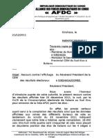 Lettre au Président CENI concernant le recours contre l'affichage des résultats électoraux
