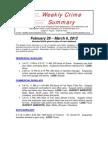 South Pasadena Weekly Crime Summary 2-29-12 to 3-6-12