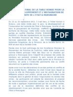 Communique final de la Table Ronde Pour La Paix, le developpement et l'instauration de l'autorite de l'etat a Mukungwe 2001 sept