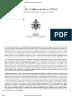 Catequese de Bento XVI - O silêncio de Deus - 07-03-12