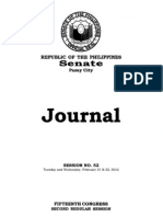 Senate Journal Session Proceedings – 15th Congress Second Regular Session (February 21 22 2012)