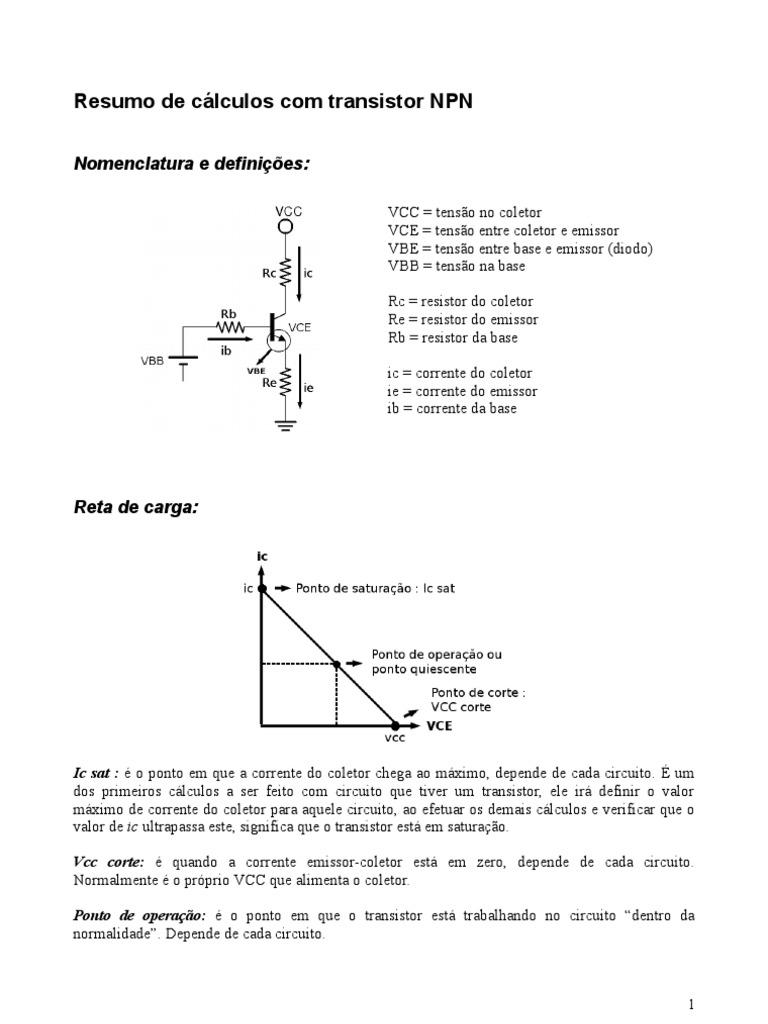 Circuito Transistor : Resumão transistor npn fórmulas e cálculos
