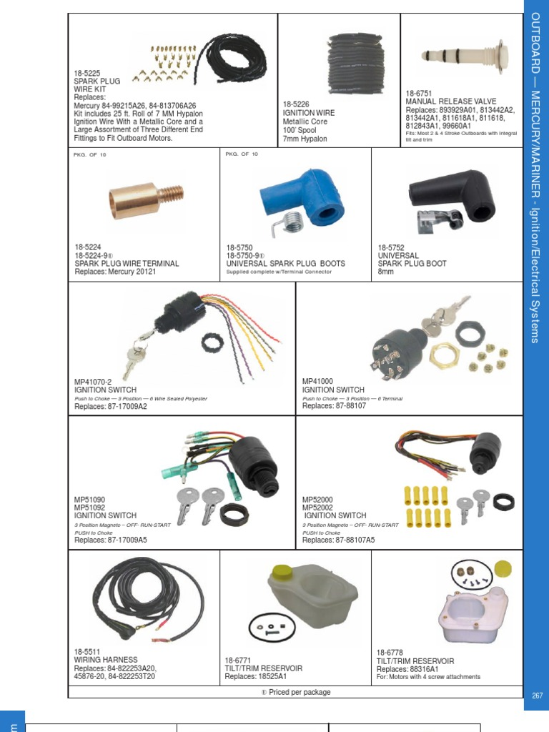 Mercury Outboard Electrical Parts | Ignition System | Rectifier on mercury harness part number, mercury wiring diagrams, mercury tach wiring, mercury wiring color code, mercury voltage regulator,