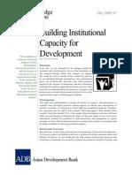 Building Institutional Capacity for Development