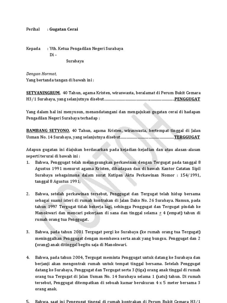 Cara Membuat Surat Gugatan Cerai Kepada Istri Brad Erva Doce Info