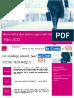Baromètre des préoccupations des Français - mars 2012