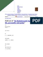 Sir Rabindranath Tagore His Life Personality and Genius