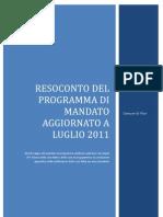 RESOCONTO Del  Programma di mandato Aggiornato a Luglio 2011
