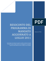 RESOCONTO Del Programma Di Mandato Luglio 2011