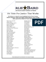 Charlie Baird Campaign Supporter List, Revised March 8, 2012