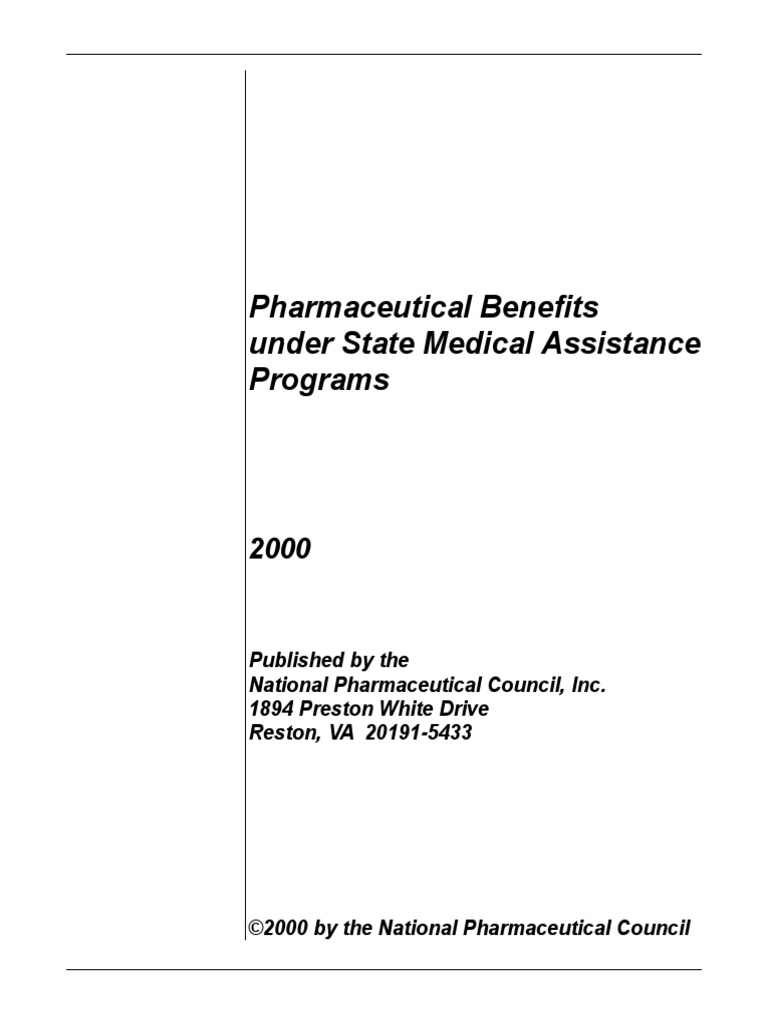 Pharmaceutical Benefits Under State Medical Assistance