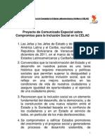 Comunicado especial sobre el compromiso para la inclusión social en la Celac