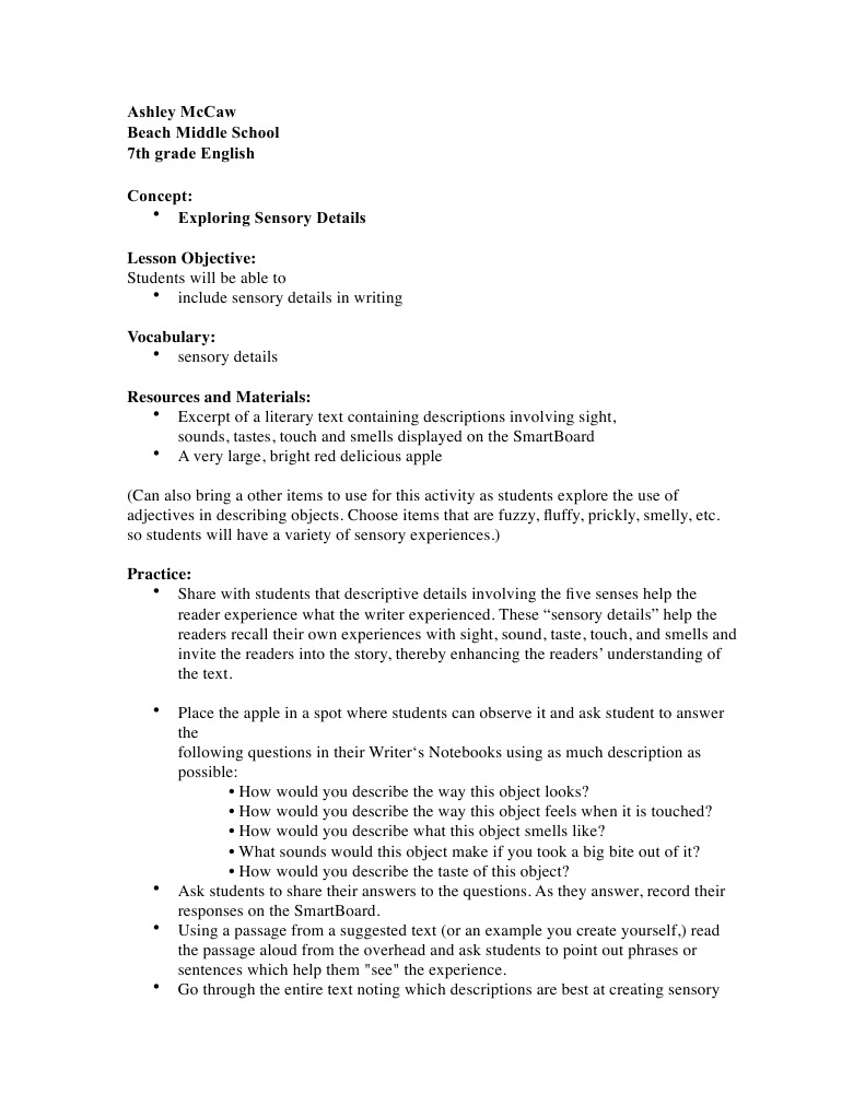 Worksheets Sensory Details Worksheet sensory details lesson plan senses perception