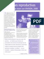 Decisiones reproductivas y mujeres que viven con VIH/SIDA, 2008
