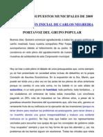 Propuesta de Carlos Negreira para los presupuestos municipales del 2009