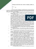 Habeas Corpus Affidavit in Supprt