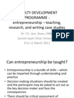 FACULTY Development PROGRAMME - Entrepreneurship - Teaching, Research and Case Writing