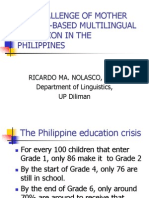 Mother Tongue-based Multilingual Education in the Philippines (Dr. Ricardo Ma. Nolasco)