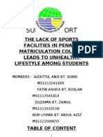 The Lack Of Sports Facilities Leads to Unhealthy LIfestyle Among StudentsReport