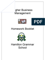 Higher Business Management Homework Booklet