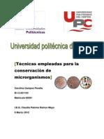Técnicas empleadas para la conservación de microrganismos