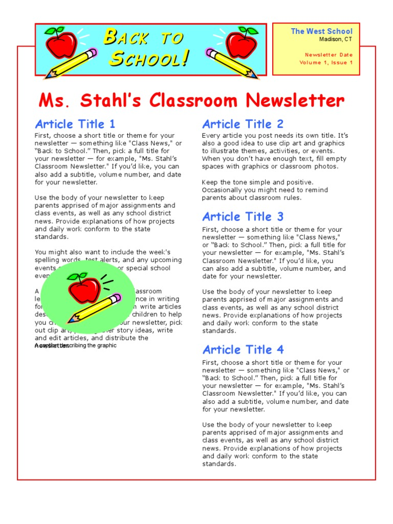 Newsletter Example | Homework | Classroom  Example Of A News Letter