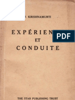 Expérience et conduite, par J. Krishnamurti