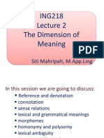 Lecture 3 The Dimension of Meaning