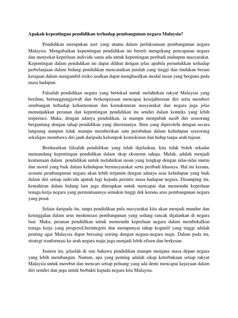 Kepentingan Pendidikan Terhadap Pembangunan Negara Malaysia