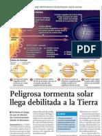 Tormenta Solar llega debilitada a la Tierra