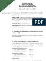 Mignovillard - Compte rendu du Conseil municipal du 5 mars 2012