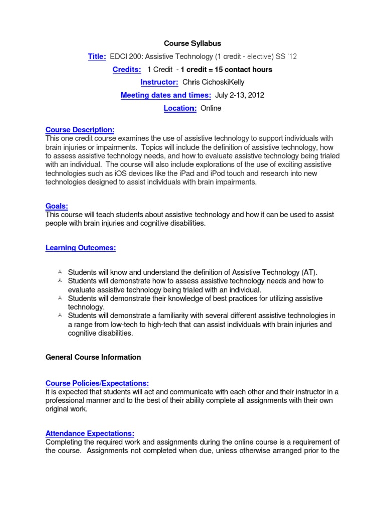 assistive technology - edci 200 ol7 - course syllabus | educational