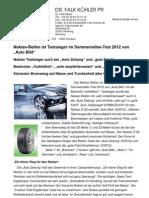 Nokian-Reifen ist der Testsieger im Sommerreifen-Test 2012 von Auto Bild / Nokian Testsieger auch bei Auto Zeitung und gute Fahrt / Bestnoten Vorbildlich, sehr empfehlenswert und sehr gut / Kürzester Bremsweg auf Nässe und Trockenheit aller Reifen