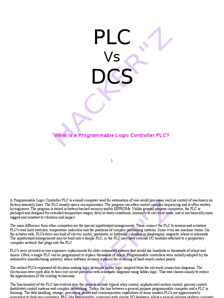 Plc Vs Dcs Programmable Logic Controller Automation Relay Circuits
