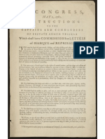 US Congressional Instructions For Privateers, 1780