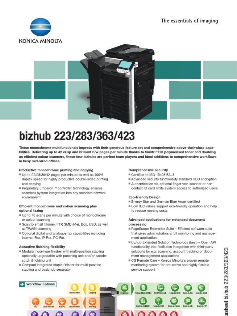 bizhub_223_283_363_423_datasheet | Image Scanner | Fax