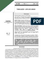 N-1542 - TUBULAÇÃO - LISTA DE LINHAS