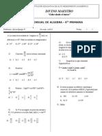 Examen Mensual de Algebra 6to Grado ABC Agosto