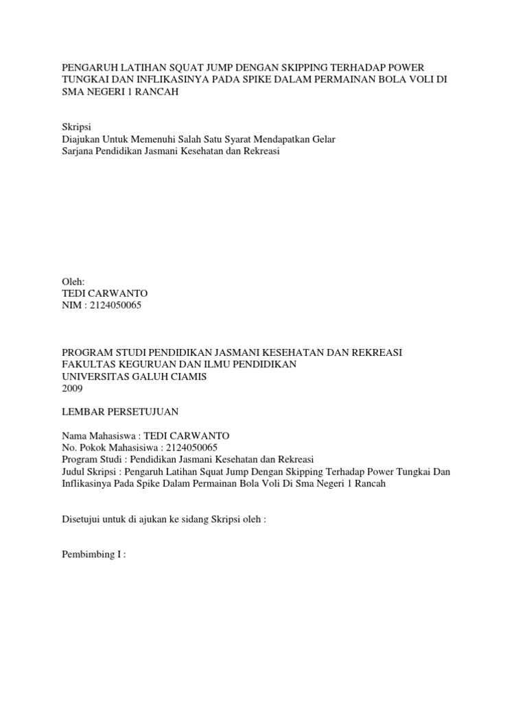 Contoh Proposal Skripsi Olahraga Bola Voli Kumpulan Berbagai Skripsi