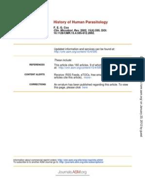 History of Human Parasitology | Public Health | Microbiology